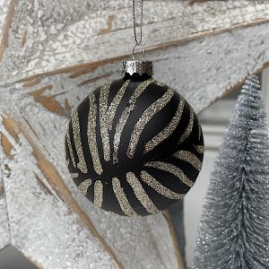 A lovely black and silver zebra striped christmas bauble