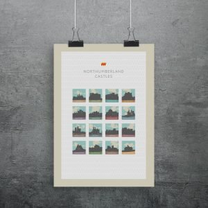 Northumberland Castles print. 16 of the northumberland castles in oultine like stamps in a grid
