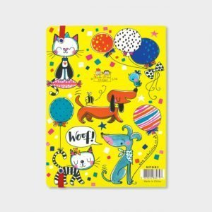 A fabulous colourful notebook with vibrant cat and dog design.