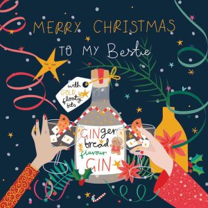 A Christmas card for your Bestie with a gin bottle and two friends toasting. A bright colourful card