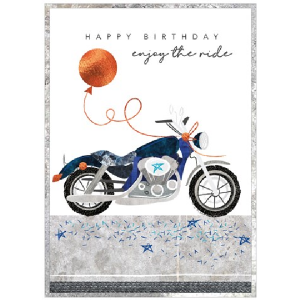 A fantastic birthday card for motorbike lovers. With an image of a motorbike with a balloon attached to it.