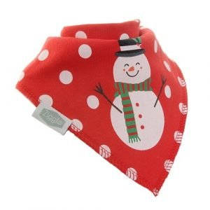 Snowman Christmas Dribble Bib. A soft and absorbent cotton dribble bandana bib. Bright red with white spots and a cute snowman