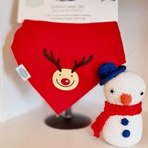A red soft absorbant cotton bandana dribble bib with a cute reindeer motif. Two poppers on the back. Fits age 0 to 2 years