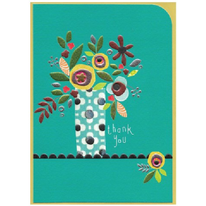 A gorgeous Gypsy Thank you card with a colourful vase of flowers on it.