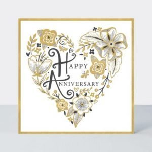 A lovely card with a heart on the front of it that is made up of a gorgeous flower pattern. In the centre of the heart are the words Happy Anniversary.