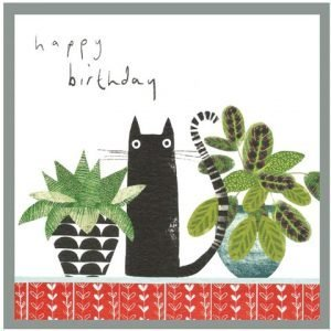 A cute contemporary Happy Birthday cat card with an image of two plants and a black cat on it.