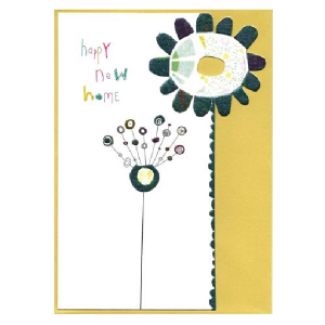 A lovely card with an image of tall flowers with a yellow coloured background. The words Happy New Home are also printed on the card.