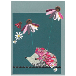 A gorgeous card with a sweet hedgehog with some lovely daisies on it in deep teal and pink colours