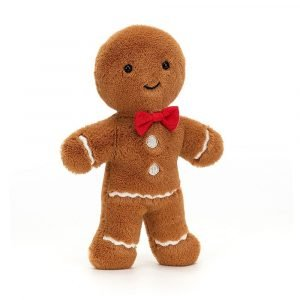 Jellycat Jolly Gingerbread Fred cuddly toy. This cuddly gingerbread man has the cutest face and a smart red bow tie