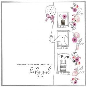 An extra large Welcome to the world card for a new baby girl.