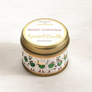 A sweet Wintertime mini candle with an image of little sprout men printed around the side of the tin. The words Merry Christmas are printed on the label on the top of the tin.