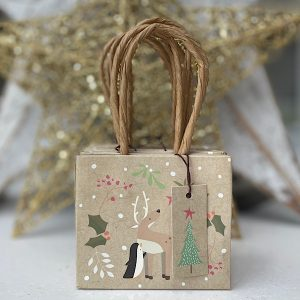 A mini gift bag which is beige in colour with a rope handle and images of cute reindeer on the front of it. The Label has a christmas tree printed on it.