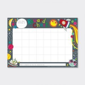 A fabulous Moon and Space reward chart with moon and star design and with a grid printed on it to write days and names or tasks on it. The pack comes with stickers to put on the reward chart.