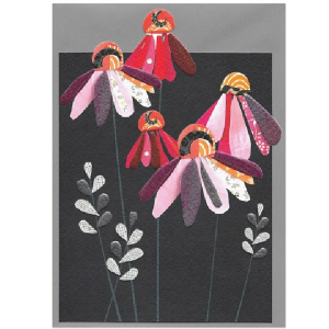 A gorgeous blank card with an image of lovely pink daisies on it.