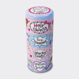 A tall tin with Princess Treasure printed on the top of it. The tin is made up of 4 small tins that slot together.