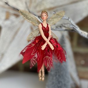 A beautiful ballerina hanging decoration with a red dress.