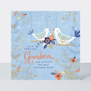 A fabulous square card with a blue background and an image of birds sitting on swings. The words to a Special Grandma You Deserve the best day ever printed on it,