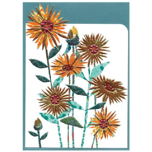 A lovely sunflowers card which has no wording on it so can be used for any occasion. The card has been die cut and embossed.