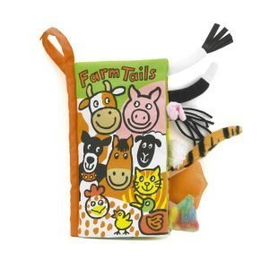 A sweet interactive fabric book with images of farm animals and tails sticking out of the side of the book. Match the animal to the tail.