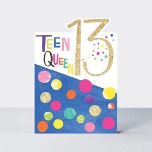 A lovely colourful Teen Queen 13 card with lovely polka dot pattern and glitter letters.