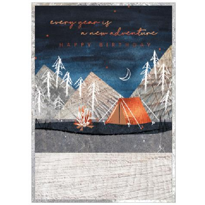 A lovely birthday card with a night time scene and an imahe of mountians trees and a tent for camping lovers.