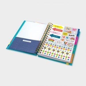 A colourful ring bound organiser which has pages with lists and suggestions of things to do. It has page dividers and cute stickers to use in the book.
