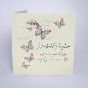 A beautiful card from Five Dollar Shake with an image of butterflies on it and the words Wonderful Daughter With love on your birthday May all your dreams come true.