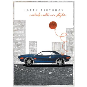 A lovely card with a fancy sports car image on it with a balloon attached to it. The Words Happy Birthday celebrate in style are printed on the card.